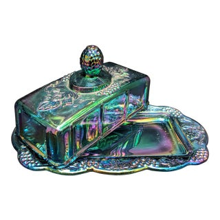 Vintage Indiana Glass Blue Harvest Grape Carnival Glass Butter Dish With Lid For Sale