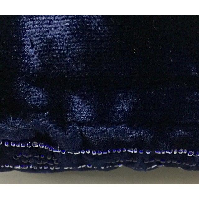 Glass Panne Velvet Beaded and Fringe Throw Pillow For Sale - Image 7 of 10