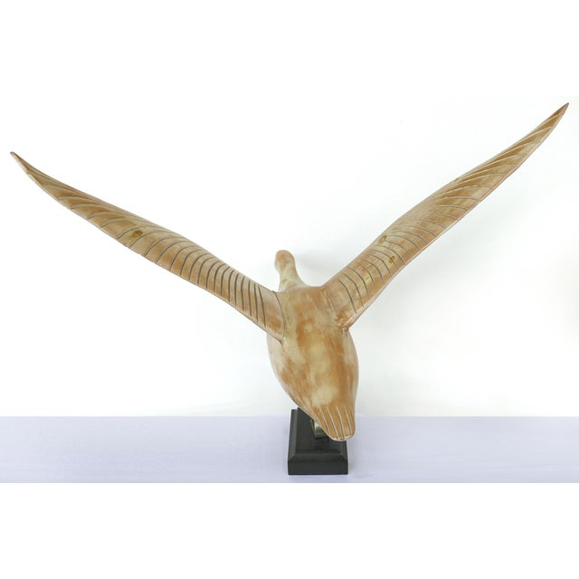 Late 20th Century Vintage Life-Size Carved Wood Duck /Goose Sculpture in Flight For Sale - Image 5 of 11