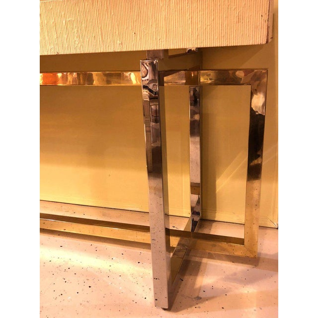 Modernist Chrome and Brass Based Console Table or Sideboard For Sale In New York - Image 6 of 10