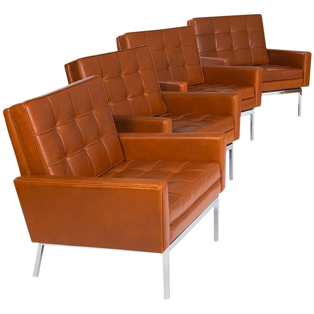 1965 Florence Knoll Cognac Leather Armchairs - Set of 4 For Sale