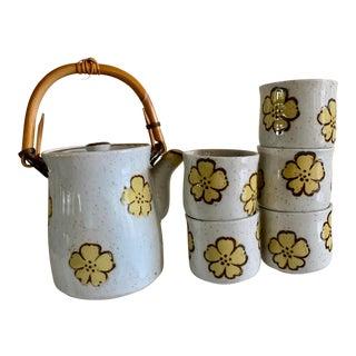 Midcentury Japanese Tea or Saki Set of Six For Sale