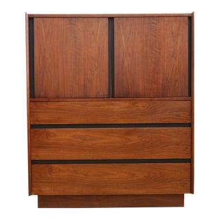 Vintage Mid-Century Walnut Dillingham Tall Hignboy Dresser Chest Armoire For Sale