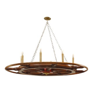 American Victorian Wooden Ship Wheels Chandeliers For Sale