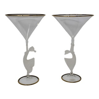 Murano Glass Martini Glasses by Tessaro - a Pair For Sale