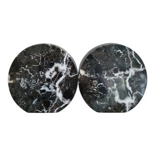 Large Circular Marble Bookends, a Pair For Sale