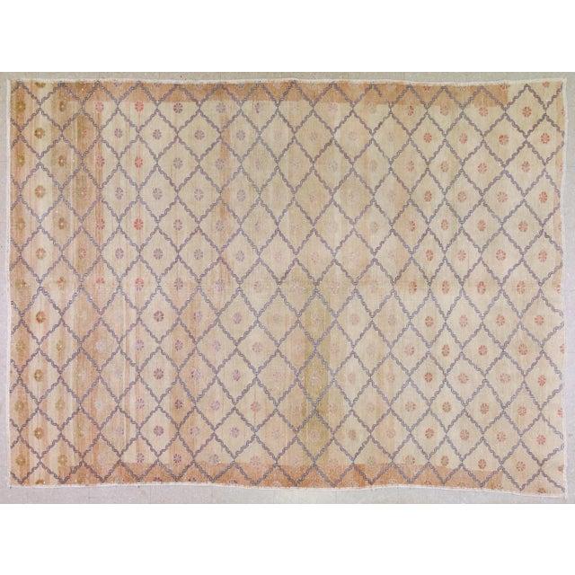 """Textile Vintage Turkish Oushak Rug,6'9""""x9' For Sale - Image 7 of 7"""