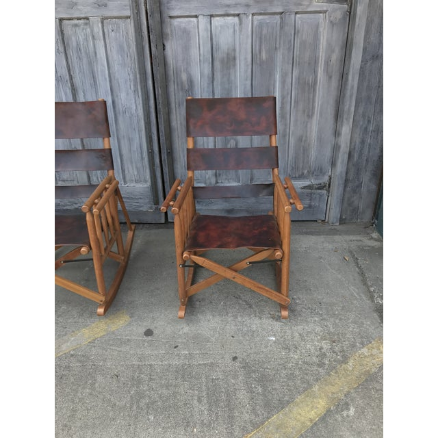 Wood Campaign Style Folding Leather Rockers - a Pair For Sale - Image 7 of 8