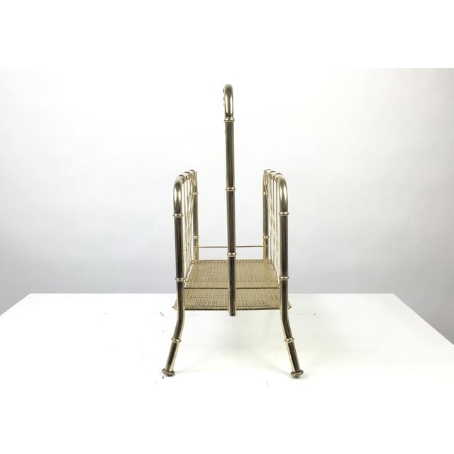 Hollywood Regency Faux Bamboo Brass Magazine Rack For Sale - Image 4 of 7