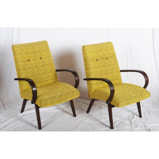 Mid-Century Czech Upholstered Chairs, 1960s - A Pair For Sale - Image 9 of 11