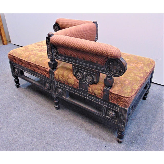American Victorian Eastlake style Tete a Tete also know as a conversation settee, Carved wood frame with a distressed...