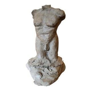 "1960s Vintage Male Nude Sculpture Signed ""Jm Pearson"" For Sale"