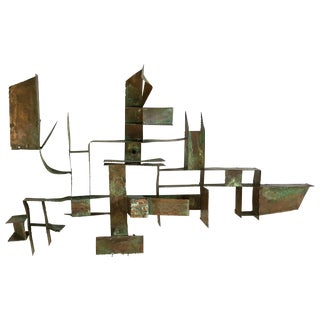 German Brutalist Bronze Wall Hanging Sculpture For Sale