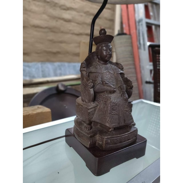 1940's Vintage Archaic Figural Bronze Effigy of the Empress of China Table Lamp For Sale - Image 10 of 12