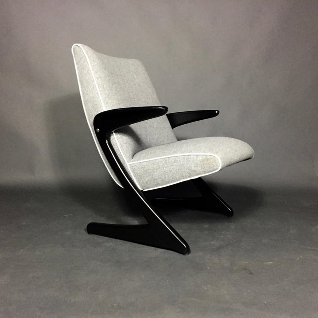 """Gray Bengt Ruda """"Z"""" Ebonized Lounge Chair, Sweden 1950s For Sale - Image 8 of 8"""