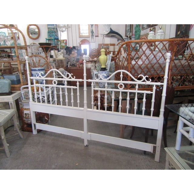 """King size curly faux bamboo headboard. It measures 53"""" H x 80"""" W x 2""""D. It is in good as found vintage condition."""