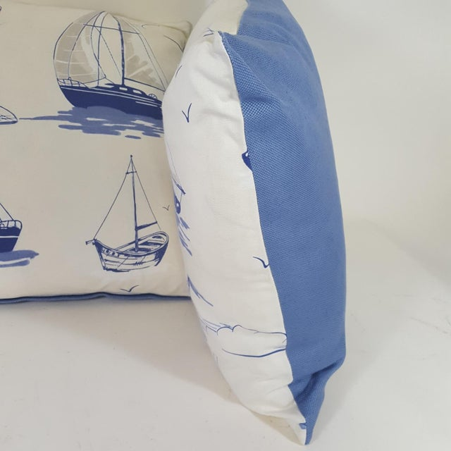 Contemporary Blue Sailboat Accent Pillows - a Pair For Sale - Image 3 of 9