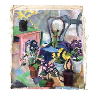 Original Vintage Expressionist Still Life Painting 31 X 35 For Sale
