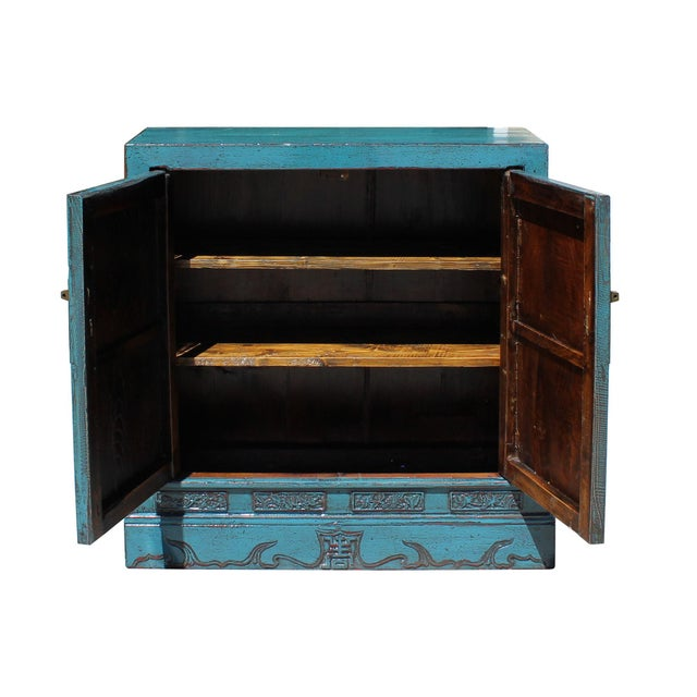 Foyer Cabinet Jeans : Chinese distressed rustic blue foyer console table cabinet