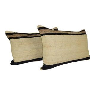 "Vintage Organic Turkish Hemp Kilim Pillow a Pair 16""x24"" For Sale"
