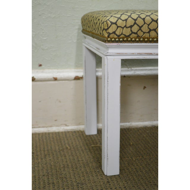 Mid Century Pair of Custom Painted Square Stools Benches For Sale - Image 4 of 11