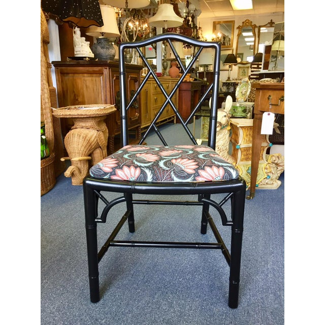 1970s Asian Modern Chippendale Reupholstered Black Wood Dining Chairs - Set of 5 For Sale - Image 4 of 9