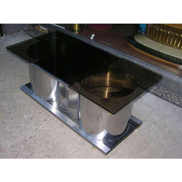 1970s 1970s Italian Smoked Glass Coffee Table With Dry Bar For Sale - Image 5 of 8