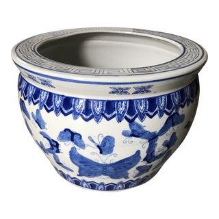 Vintage Blue & White Garden Planter Pot