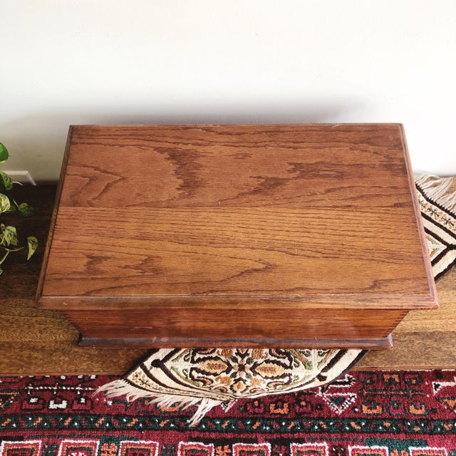 Antique Oak Desk Box With Brass Hardware For Sale In Austin - Image 6 of 10