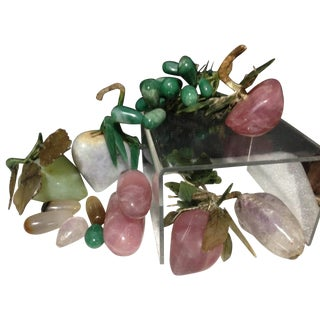 Stone Fruit Rose Quartz Jadeite Amethyst Grapes Asian Plum Apple Eggplant - 8 Pieces For Sale