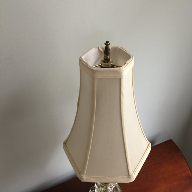Vintage Hollywood Regency Stacked Crystal Lamp With Shade For Sale - Image 4 of 5