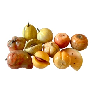 Mid-Century Modern Carved Marble Fruit- Set of 11 For Sale