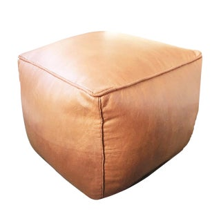 Square Pouf by Mpw Plaza, Sand (Cover) Moroccan Leather Pouf Ottoman For Sale