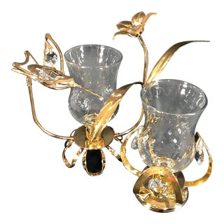 1970s Vintage Austrian Humming Bird & FlowersCandle Holders- A Pair For Sale