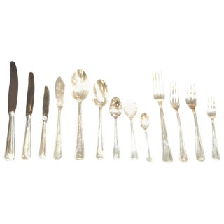 Classic Art Deco Complete Set of Silverware Cutlery in Fitted Box For Sale