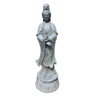 Immaculate Bronze Statue of Quan Yin, the Goddess of Mercy and Compassion For Sale