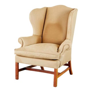 Ralph Lauren Devonshire Cigar Leather Wingback Chair For Sale