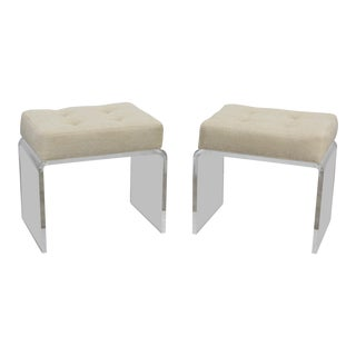 Cream Waterfall Acrylic & Chenille Benches- a Pair For Sale