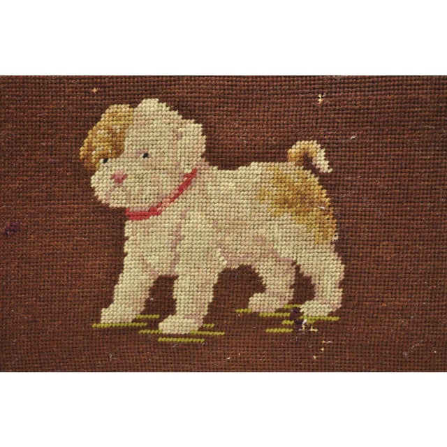 Antique Victorian Small Puppy Dog Needlepoint Petite Stool For Sale - Image 9 of 10