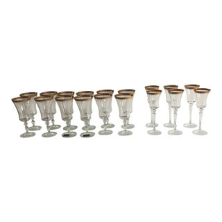 Mikasa Crystal Palatial Gold Water Goblets & Wine Glasses - Set of 18 For Sale