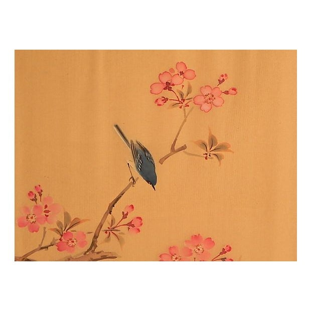 Asian Cherry Blossom Painting on Silk For Sale - Image 3 of 4