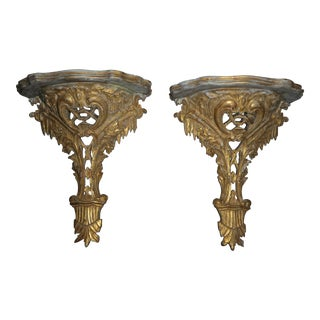 Vintage Hand Carved Italian Palladio Wall Brackets- A Pair For Sale