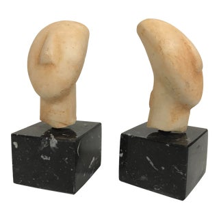 Pair of Cycladic / Ancient Aegean Plaster Bust on Marble Stands For Sale