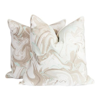 Marble Linen Swirl Pillows, Pair For Sale