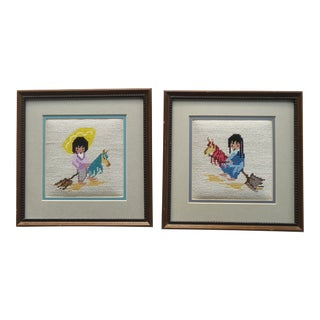 Children on Hobby Horses DeGrazia Needlepoint Pictures - A Pair