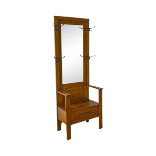 Mission Oak Antique Mirror Back Hall Rack