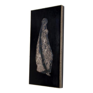 Mid Century Modern Los Castillo Virgin Mary Striking Silver Panel Plaque, Mexico 70s For Sale