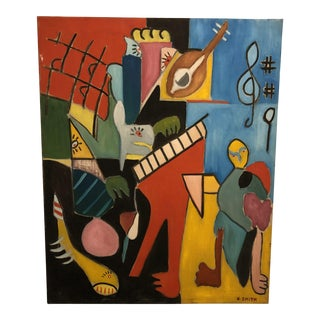 Mid Century Modern Abstract Oil on Canvas Painting, Signed For Sale