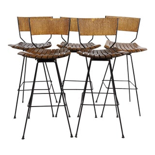 Arthur Umanoff Mid-Century Iron Bar Stools - Set of 5