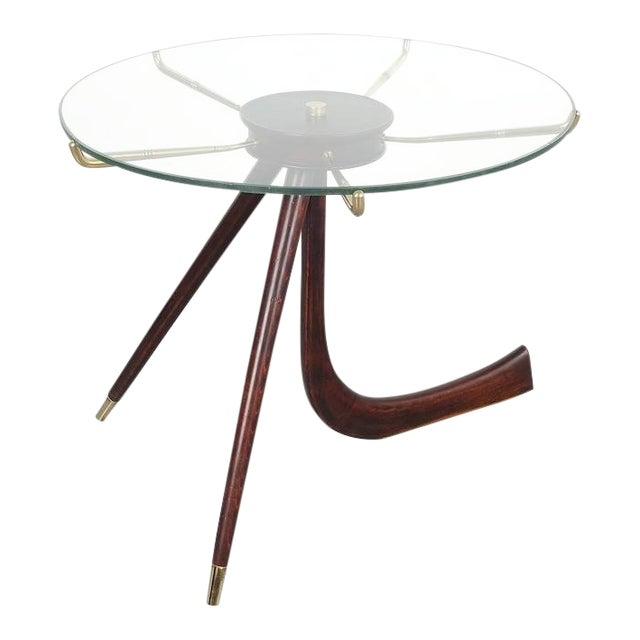 Brevettato Wood Brass Coffee or Side Table, Italy 1955 For Sale
